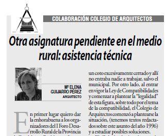 """ARTÍCULO """"Otra asignatura pendiente en el medio rural: asistencia técnica"""" de ELENA GUIJARRO PÉREZ"""