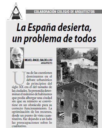 """ARTÍCULO """"La España desierta, un problema de todos"""" de MIGUEL ÁNGEL BALDELLOU"""