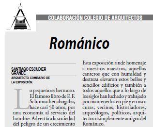 """ARTÍCULO """"Románico"""" de SANTIAGO ESCUDIER GRANDE"""
