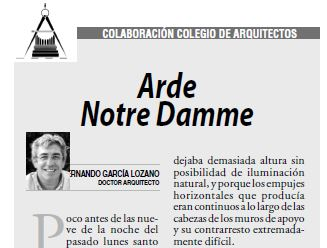 """ARTÍCULO """"Arde Notre Damme"""" de FERNANDO GARCÍA LOZANO"""