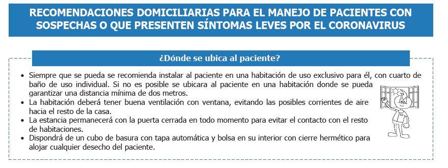 COVID-19 RECOMENDACIONES DOMICILIARIAS PARA EL MANEJO DE PACIENTES